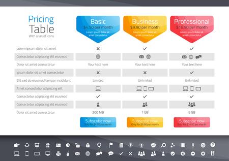 tabulka: Light cenové tabulky s 3 možností. Ikona set zahrnuty