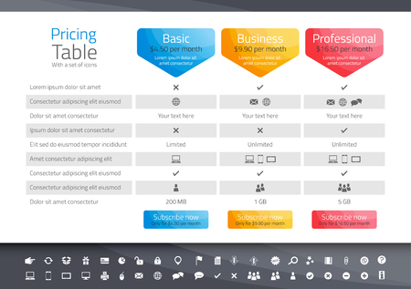 Light pricing table with 3 options. Icon set included Иллюстрация