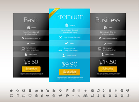 Modern pricing list with 3 options in turquoise, blue and raspberry color. Set of icons included Illusztráció