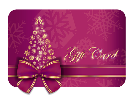 purple ribbon: Raspberry Christmas gift card with purple ribbon and gold snowflakes Illustration
