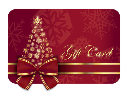 Red Christmas gift card with wine ribbon and gold snowflakes