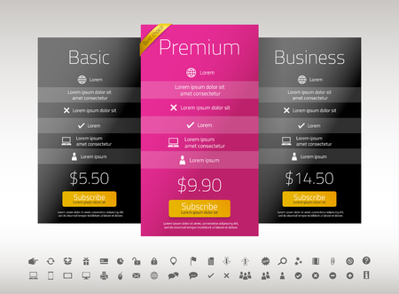 Modern pricing list with 3 options in black and raspberry color. Set of icons included Illusztráció