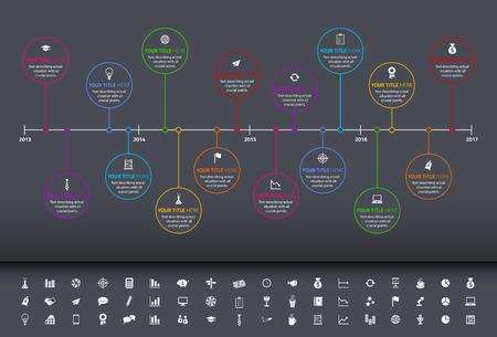 Modern rainbow timeline with circle milestones and set of icons Illustration