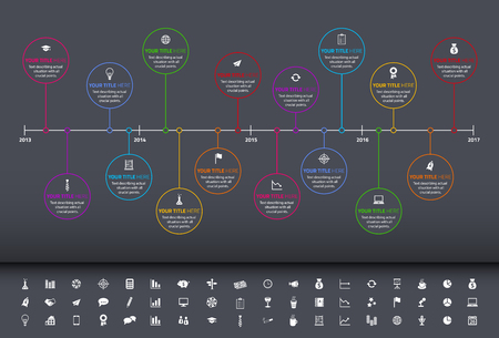 Modern rainbow timeline with circle milestones and set of icons Illustration