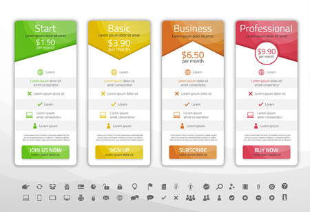 Light pricing list with 4 options. Different shapes of tables. Icon set included
