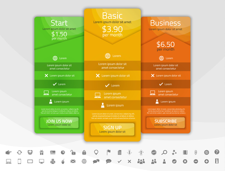 pricing: Light pricing list with 4 options. Different shapes of tables. Icon set included