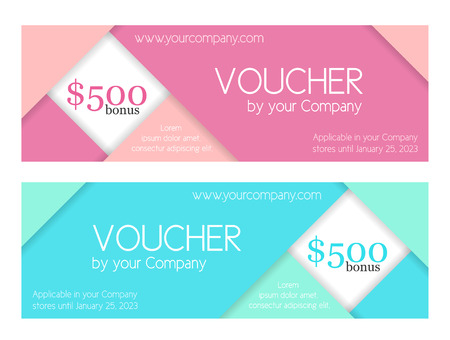 Modern simple voucher composed from folded paper