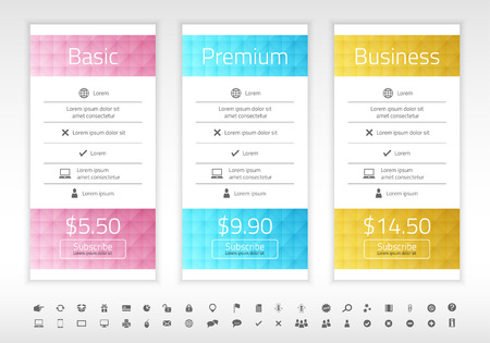 Modern pricing list with 3 options in turquoise, blue and raspberry color. Set of icons included Illustration