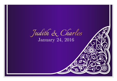 wedding guest: Violet wedding announcement with white floral lace