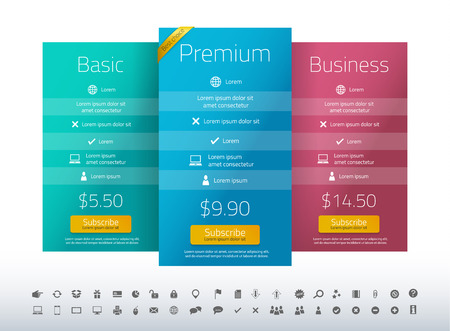 Modern pricing list with 3 options in turquoise, blue and raspberry color. Set of icons included 向量圖像