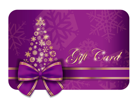 gold snowflakes: Luxury Christmas gift card with purple ribbon and gold snowflakes