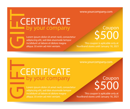cut away: Creative gift certificate with orange and yellow background