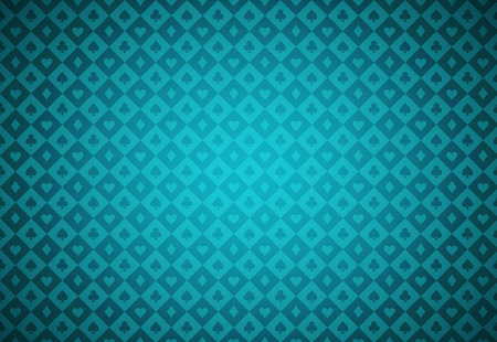Minimalistic turquoise poker background with texture composed from card symbols Illustration