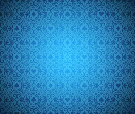 Niebieski bezszwowe tło pokera z ciemnymi symboli wzór adamaszku i karty
