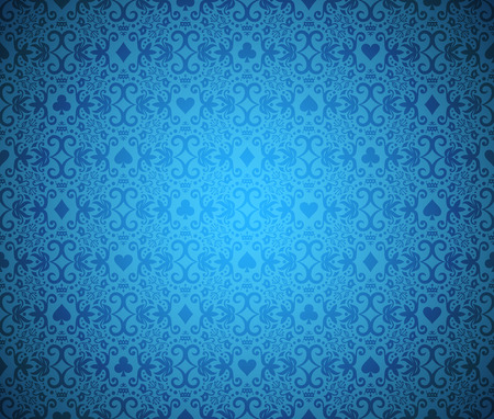 Blue seamless poker background with dark damask pattern and cards symbols