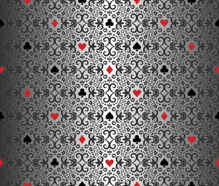 poker card: Silver poker background with damask pattern and cards symbols Illustration