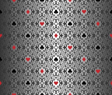 card symbols: Silver poker background with damask pattern and cards symbols Illustration