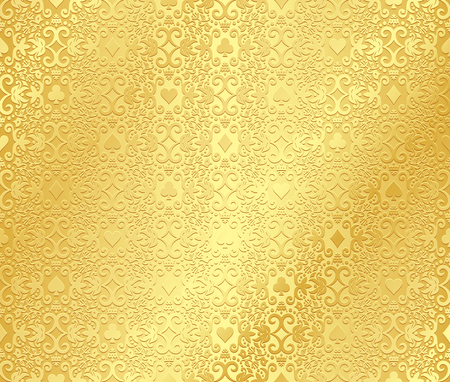 Golden seamless poker background with dark damask pattern and cards symbols