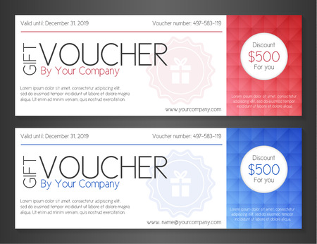 gift certificate: Modern simple voucher with watermark and red and blue pattern decoration
