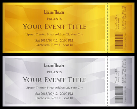 classical: Modern gold and silver ticket with abstract background