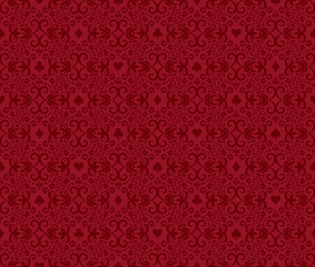 succes: Red seamless poker background with dark red damask pattern and cards symbols Illustration