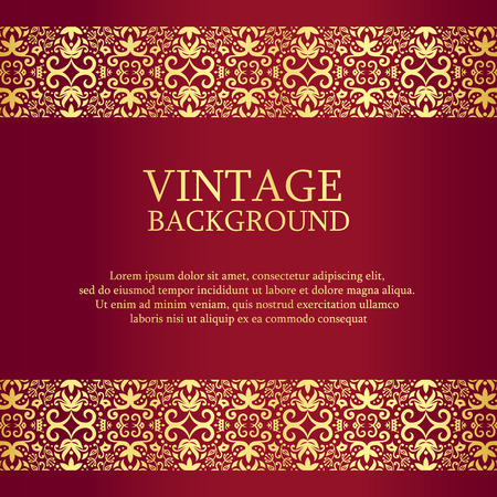 red gold: Vintage red background with gold lace as top and down decoration