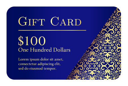 Vintage blue gift card with golden lace ornament in right corner