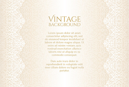 Champagne luxury vintage background with floral ornament Çizim