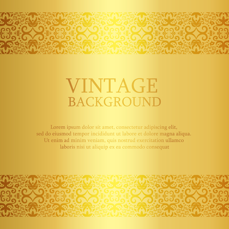 damask border: Vintage golden background with lace top and down decoration