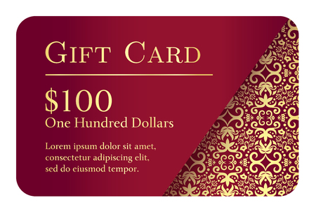 Vintage red gift card with golden lace ornament in right corner