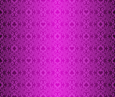 Vintage purple poker background with classic ornament and cards symbols 向量圖像