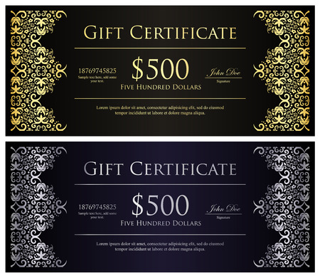 Vintage black gift certificate with golden and silver lace decoration