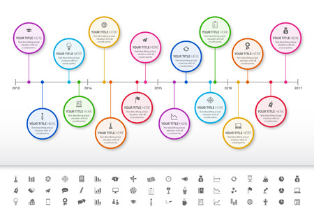 Modern rainbow timeline with circle milestones with pastel fill. Set of icons included