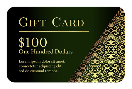 Vintage black gift card with golden lace ornament in right corner 向量圖像