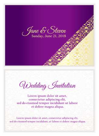 Violet wedding invitation with luxury golden lace in corner and damask pattern inside of the card