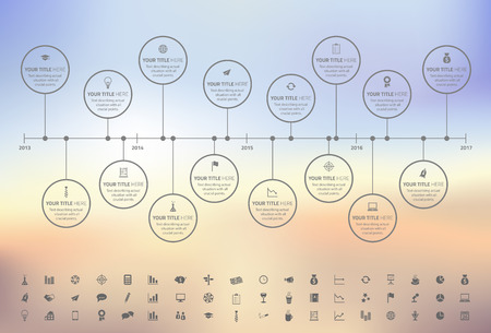 milestones: Modern rainbow timeline with circle milestones with pastel fill. Set of icons included