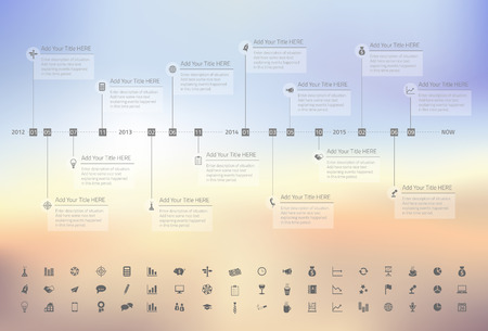 Modern rainbow timeline with transparent milestones in pastel colors on blurred background. Set of icons included. Illustration
