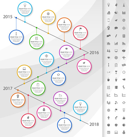 Modern timeline with rainbow milestones and icons of events 向量圖像