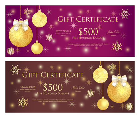 Purple and brown gift certificate with golden Christmas balls and sparkling background