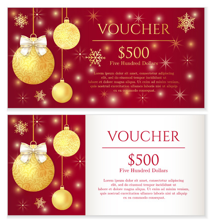 Luxury red Christmas voucher with golden Christmas balls