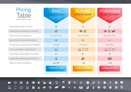 pricing: Light pricing table with 3 options. Icon set included Illustration