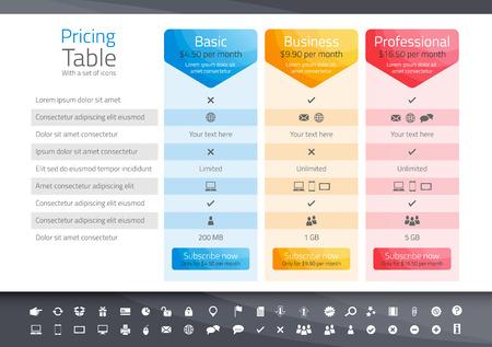 tableau de prix léger avec 3 options. Icon set inclus