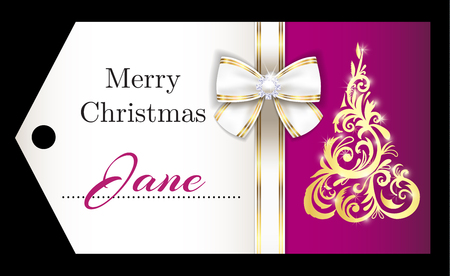 Luxury purple Christmas name tag with golden ornament Christmas tree and white ribbon 向量圖像