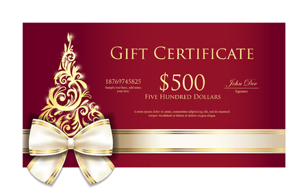 gift ribbon: Luxury red Christmas gift certificate with cream ribbon and gold ornmament Christmas tree Illustration