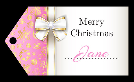 Luxury pink Christmas name tag with golden snowflakes and white ribbon
