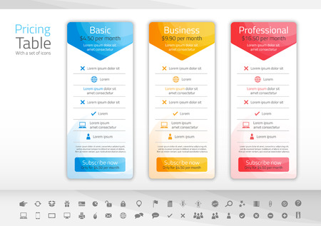 Light pricing table with 3 options in blue, yellow and red color scheme. Icon set included 向量圖像