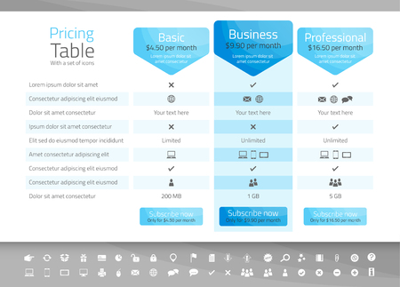 Light pricing table with 3 options. Icon set included Illusztráció