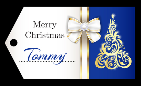 Luxury blue Christmas name tag with golden ornament Christmas tree and white ribbon