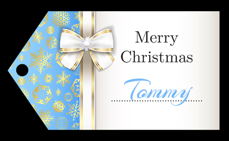 Luxury sky blue Christmas name tag with golden snowflakes and white ribbon