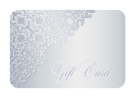Luxury silver gift card with lace decoration in corner